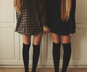 best friends, blonde, and flannel image