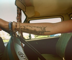 tattoo, feather, and car image