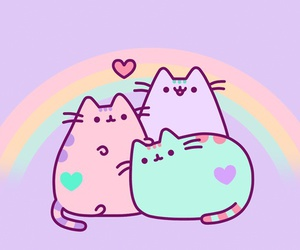pusheen, cat, and rainbow image