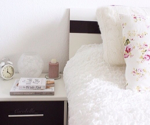 bed, bedroom, and clock image