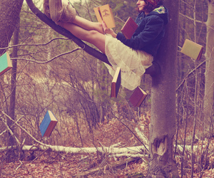 book, girl, and tree image