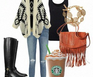 outfit, boots, and starbucks image