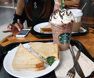 starbucks, food, and sandwich image
