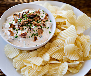 dip, potato chips, and baked chips image