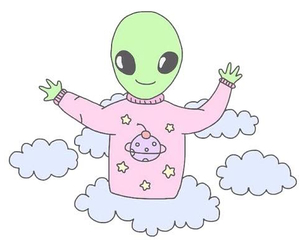 alien, clouds, and pink image