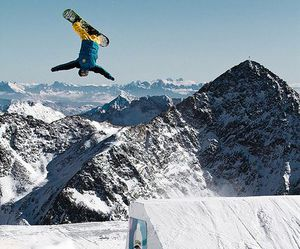 Flying, snow, and snowboarding image
