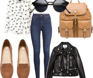 basics, leather jacket, and loafers image