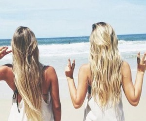 beach, sea, and friends image