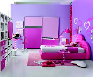 bedroom, pink, and purple image