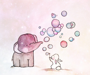 elephant, cute, and bubbles image