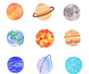 art, background, and planets image