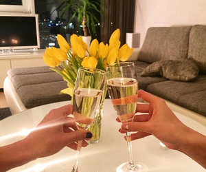 flowers, night, and drink image