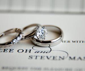 diamond, wedding, and ring image