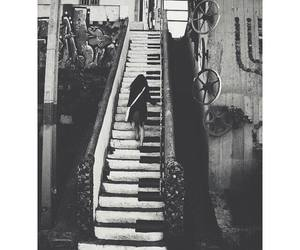 black and white, stairways, and big foot image