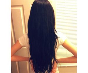 black, black hair, and brunette image