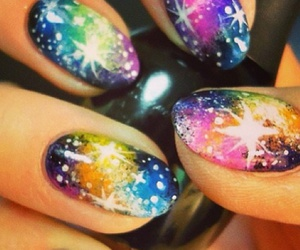 nails, nail art, and galaxy image