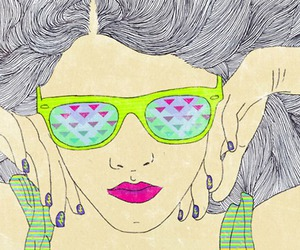 girl, sunglasses, and chic neon image