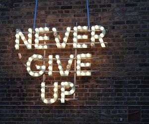 quotes, never give up, and light image