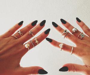 black, polish, and nail image
