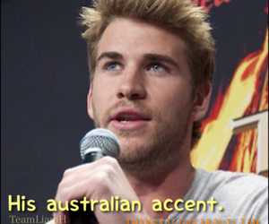 liam hemsworth, australian accent, and things i love about liam image