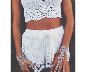 lace shorts, hand jewelry, and tanned image
