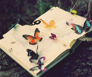 book, butterfly, and nature image