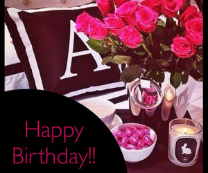 candle, flowers, and happy birthday image