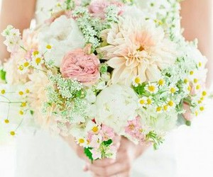 bouquet, wedding, and bride image