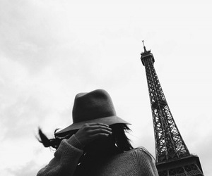 paris, girl, and black and white image