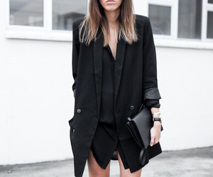 black, blazer, and outfit image