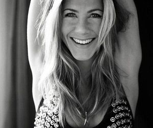 Jennifer Aniston, smile, and black and white image
