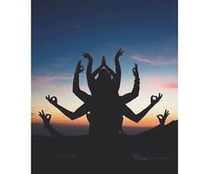 sunset, shadow, and yoga image
