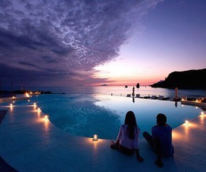 couple, pool, and sky image