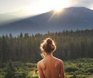landscape, sunlight, and sunset image