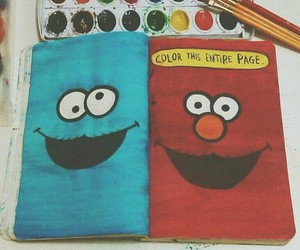 elmo, wreck this journal, and cookie monster image
