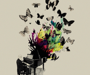 butterfly and piano image