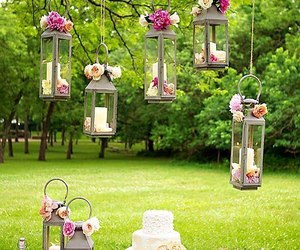 wedding, flowers, and cake image