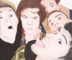 drawing, selfie, and one direction image