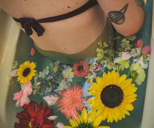 flower, girl, and grunge image