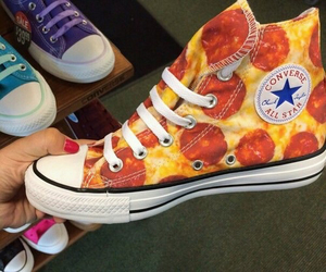 pizza, converse, and shoes image