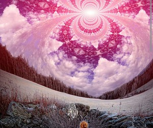 psychedelic, sky, and pink image