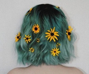 short hair, flowers, and green hair image