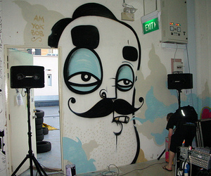 am, moustache, and speakers image