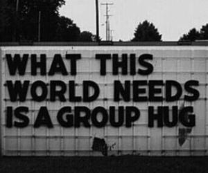 hug, world, and group image