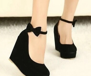 black, bow, and shoes image