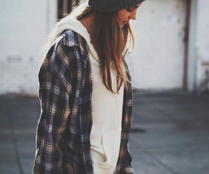 beanie, casual, and flannel image