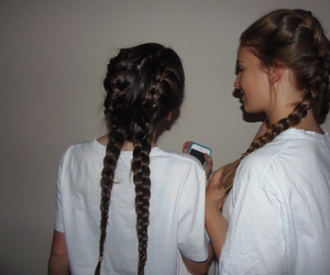 hair, friends, and braid image