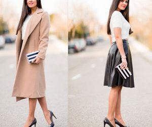 coat, skirt, and fall fashion image