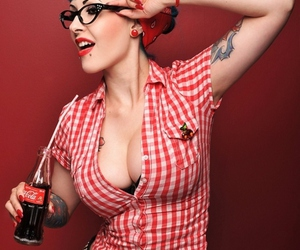 Pin Up, tattoo, and coca cola image