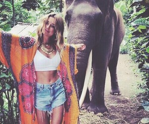 elephant, girl, and hippie image